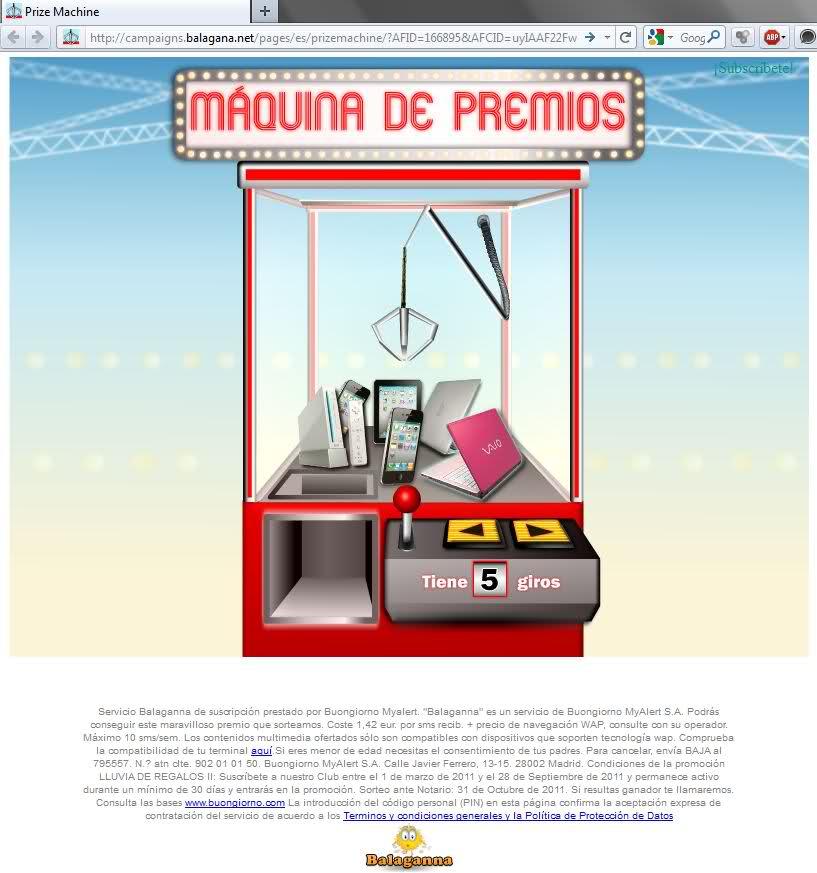 prize machine máquina de los premios balagana sony vaoio iphone