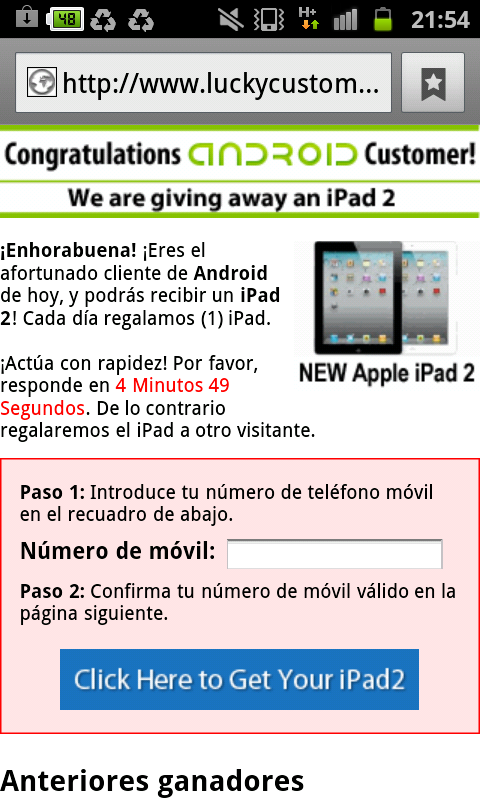 enhorabuena congratulations android customer iPad2
