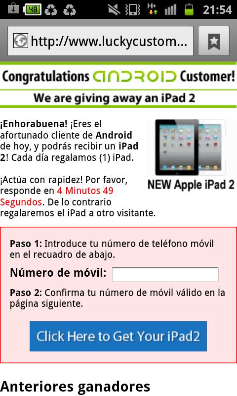 enhorabuena congratulations android customer iPad2