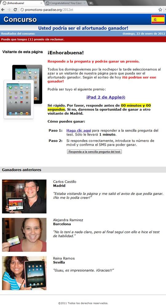 http://promotions-paradise.org/2012et Usted podría ser el afortunado ganador! iPad 2 Apple