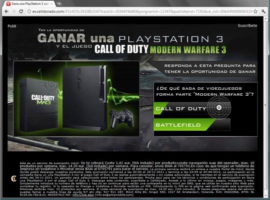 Gana una PlayStation 3 con el juego Call of Duty 3 Modern Warfare Celldorado http://es.celldorado.com/ES/ADS/261081030?trackid=2034476680&programid=12347&publisherid=7191&ce_cid=00bS4N0000001DCGWJ1azmiFBO000000