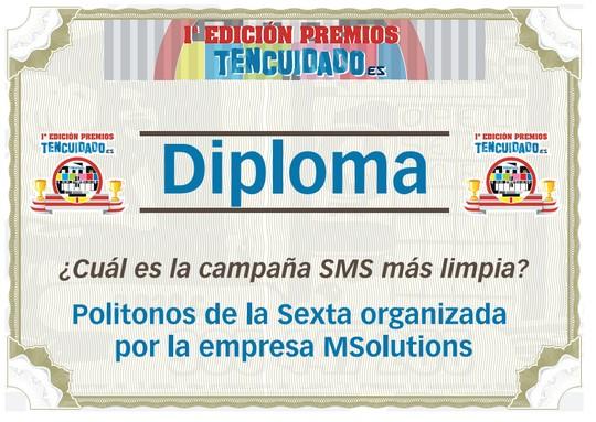 Diploma MSolutions - Premios TenCuidado 2009