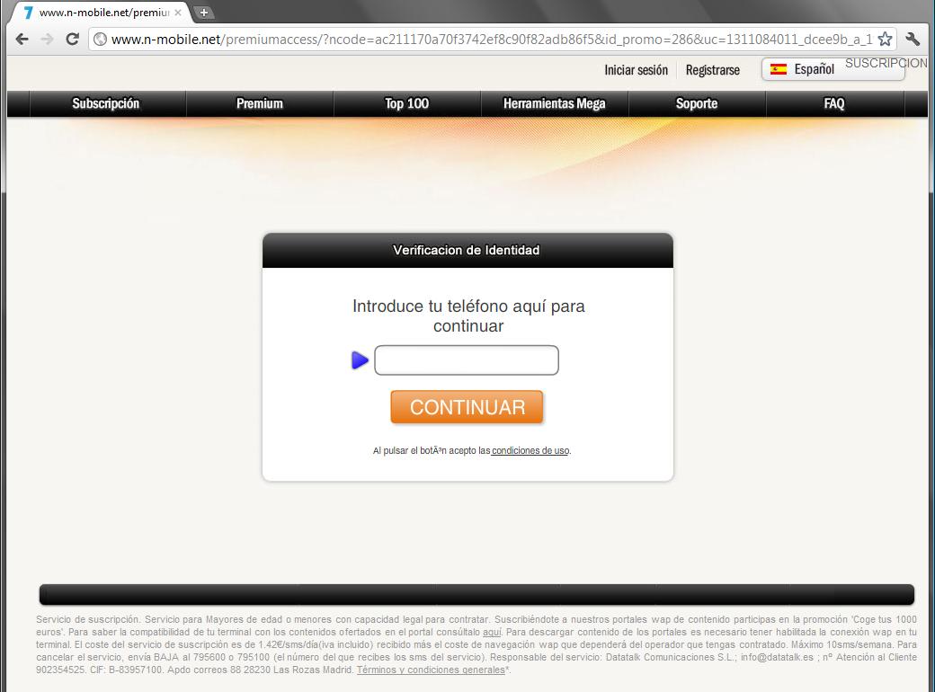 http://www.n-mobile.net/premiumaccess/ verificacion de identidad