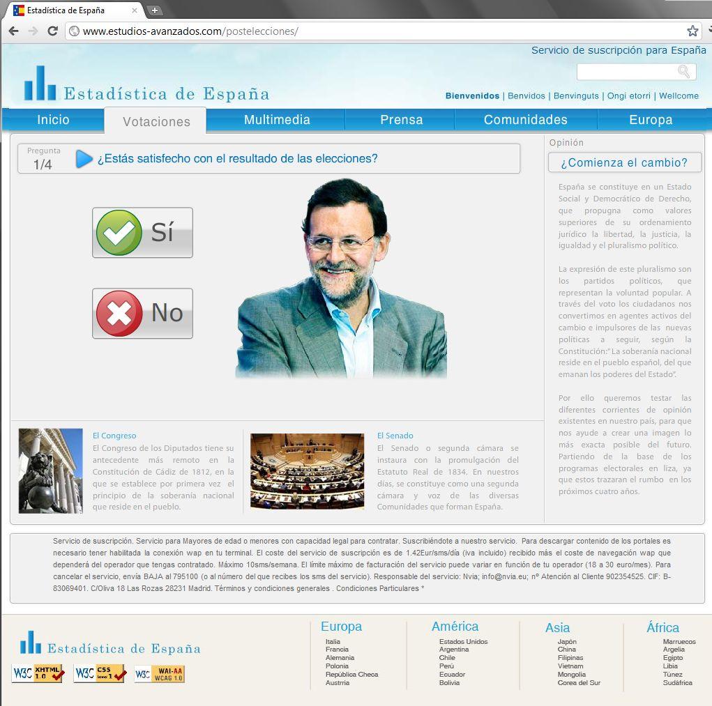http://www.estudios-avanzados.com/postelecciones/ Rubalcaba Rajoy Crisis encuesta timo comicios Estadística de España