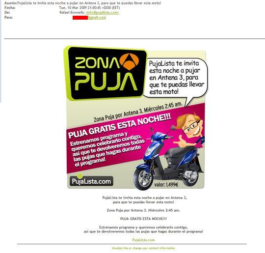 Spam de Pujalista / Antena3 /ZonaPuja / Zona Puja / PujaZona / Puja Zona