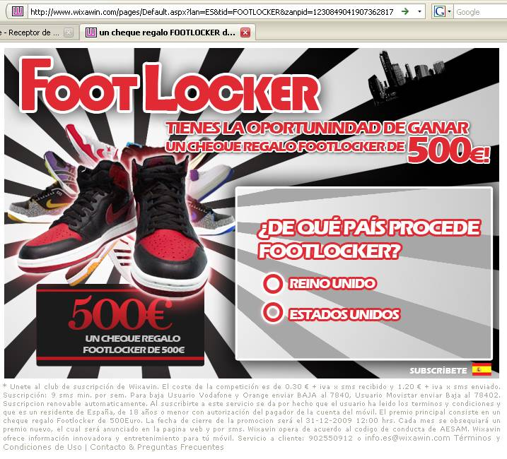 Wixawin Footlocker suscripción SMS baja 7840